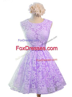 Attractive Knee Length Lavender Wedding Guest Dresses Scoop Sleeveless Lace Up