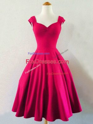 Taffeta Straps Sleeveless Lace Up Ruching Quinceanera Court Dresses in Hot Pink