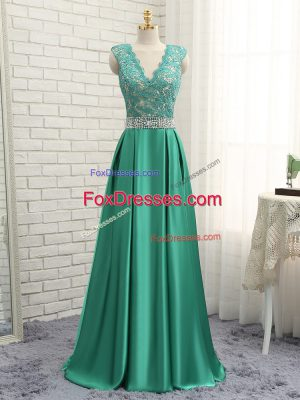 Cheap Sleeveless Floor Length Lace and Appliques Backless Prom Dress with Green