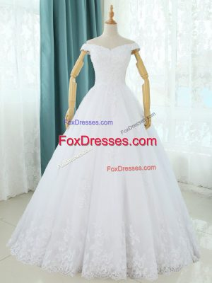 Sleeveless Tulle Floor Length Lace Up Wedding Gowns in White with Lace and Appliques