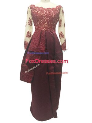 Burgundy Zipper Mother of Groom Dress Lace and Appliques Long Sleeves Floor Length