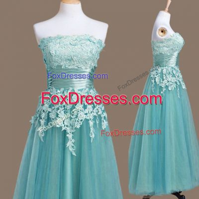 Light Blue Empire Tulle Strapless Sleeveless Appliques Tea Length Lace Up Bridesmaid Dresses