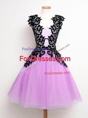 Classical Straps Sleeveless Lace Up Court Dresses for Sweet 16 Lilac Tulle
