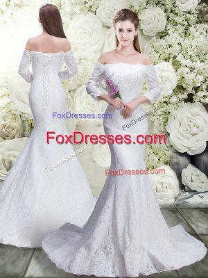 Pretty 3 4 Length Sleeve Lace Lace Up Wedding Gown with White Brush Train