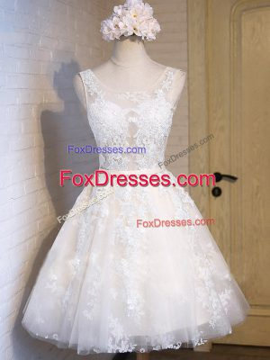 White A-line Appliques Homecoming Dress Lace Up Tulle Sleeveless Mini Length
