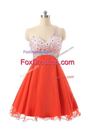One Shoulder Sleeveless Prom Evening Gown Mini Length Beading Orange Red Chiffon and Tulle