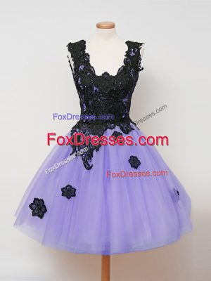 Sweet Knee Length Ball Gowns Sleeveless Lavender Wedding Guest Dresses Zipper
