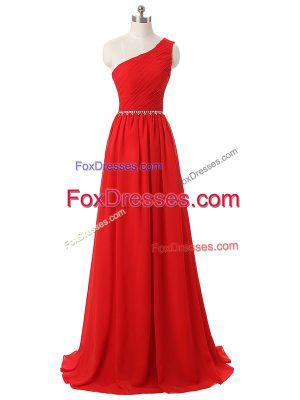 Vintage Floor Length Side Zipper Damas Dress Red for Prom and Party and Wedding Party with Beading and Ruching