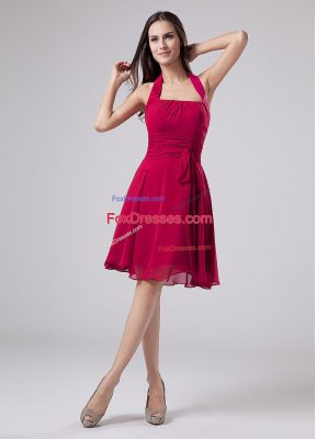 Chiffon Sleeveless Knee Length Mother Dresses and Ruching