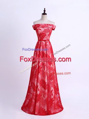 Fitting Red Printed Lace Up Off The Shoulder Sleeveless Floor Length Bridesmaid Dress Pattern