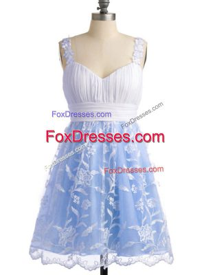 Ideal Straps Sleeveless Lace Up Quinceanera Court Dresses Light Blue Lace