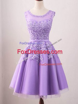 Classical Lavender Tulle Lace Up Damas Dress Sleeveless Knee Length Lace