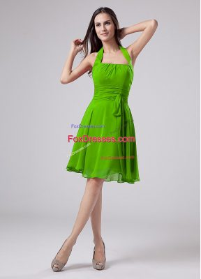 Empire Halter Top Sleeveless Chiffon Knee Length Zipper Ruching Mother Dresses