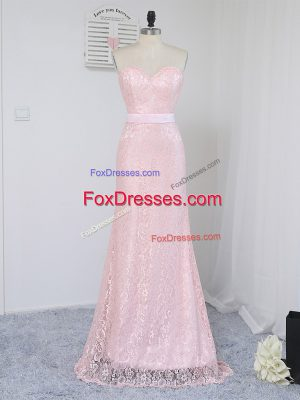 Flare Floor Length Baby Pink Quinceanera Court of Honor Dress Sweetheart Sleeveless Zipper