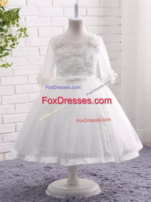 Exquisite Scoop Short Sleeves Lace Little Girls Pageant Dress Wholesale Lace and Appliques Zipper
