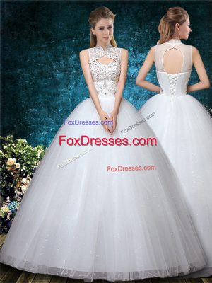 Tulle High-neck Sleeveless Lace Up Beading and Appliques and Embroidery Wedding Dresses in White