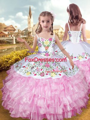Sleeveless Floor Length Embroidery and Ruffled Layers Lace Up Kids Formal Wear with Rose Pink