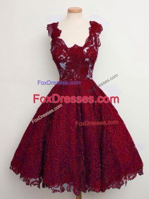 Wine Red Straps Neckline Lace Dama Dress for Quinceanera Sleeveless Lace Up