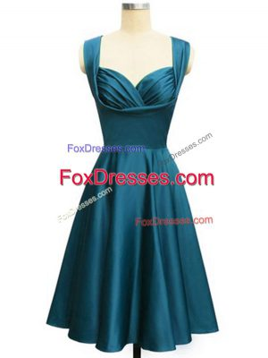 Custom Made Teal Sleeveless Taffeta Lace Up Dama Dress for Prom and Party and Wedding Party