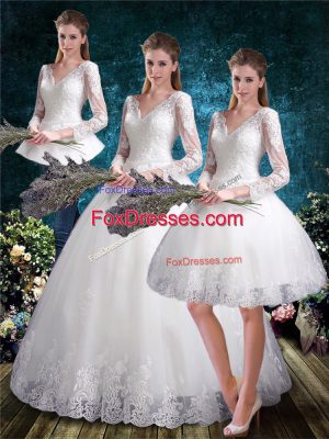 Attractive Tulle 3 4 Length Sleeve Floor Length Wedding Gowns and Lace