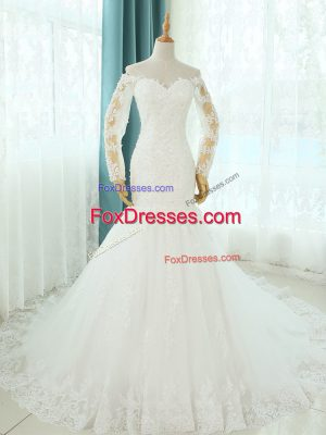 Modern White Tulle Lace Up Off The Shoulder Sleeveless Bridal Gown Court Train Beading and Appliques