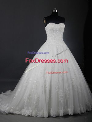 Shining White Bridal Gown Wedding Party with Beading and Lace Strapless Sleeveless Brush Train Lace Up
