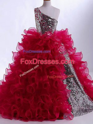 Wine Red Organza and Sequined Zipper Kids Formal Wear Sleeveless Floor Length Ruffles and Sequins