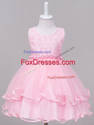 Beauteous Baby Pink Ball Gowns Scoop Sleeveless Tulle Knee Length Zipper Lace Pageant Gowns For Girls
