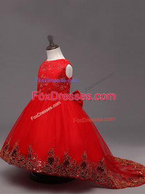 Lace and Bowknot Kids Formal Wear Red Zipper Sleeveless High Low