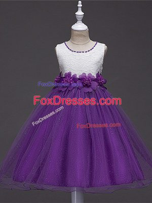 Knee Length Ball Gowns Sleeveless Purple Flower Girl Dress Zipper