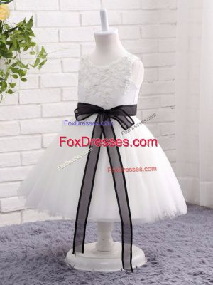 Scoop Sleeveless Party Dress Mini Length Lace and Bowknot White Tulle