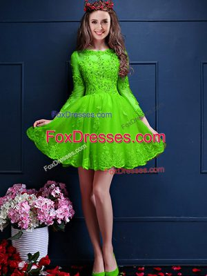 Traditional 3 4 Length Sleeve Lace Up Mini Length Beading and Lace and Appliques Wedding Guest Dresses
