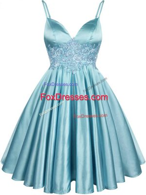 Customized Aqua Blue Sleeveless Elastic Woven Satin Lace Up Bridesmaid Gown for Prom and Party and Wedding Party