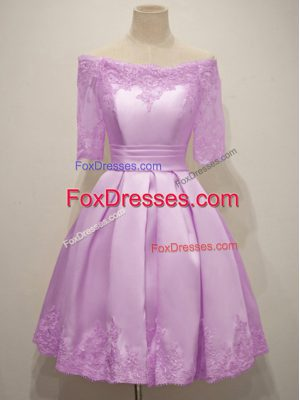 Stylish Half Sleeves Lace Up Knee Length Lace Quinceanera Court of Honor Dress