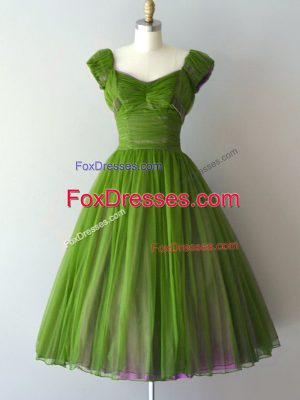 Green V-neck Neckline Ruching Bridesmaid Dress Cap Sleeves Zipper