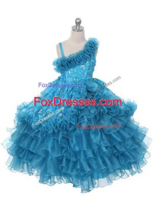 Sleeveless Lace Up Floor Length Lace and Ruffles and Ruffled Layers Kids Pageant Dress