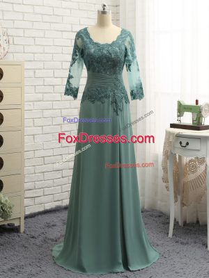 Green Scalloped Neckline Beading and Lace and Appliques Mother of the Bride Dress Long Sleeves Zipper