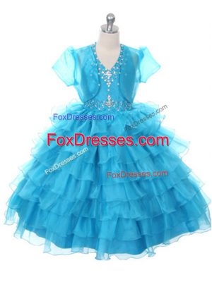 Sleeveless Beading and Ruffled Layers and Bowknot Lace Up Party Dress Wholesale