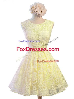 Best Lace Sleeveless Knee Length Wedding Party Dress and Belt