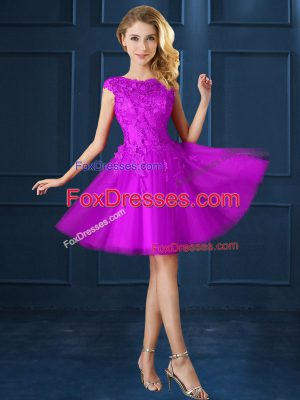 Tulle Cap Sleeves Knee Length Wedding Guest Dresses and Lace and Belt