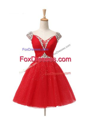 Luxury Red Lace Up V-neck Beading and Sequins Tulle Cap Sleeves