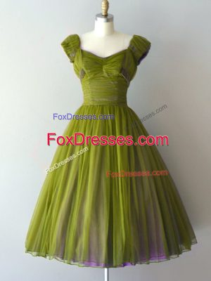 Cheap A-line Quinceanera Court of Honor Dress Olive Green V-neck Chiffon Cap Sleeves Knee Length Lace Up