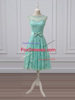 Empire Damas Dress Apple Green Scoop Lace Sleeveless Knee Length Lace Up