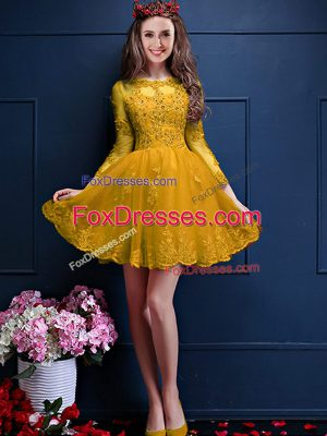 Gold A-line Chiffon Scalloped 3 4 Length Sleeve Beading and Lace and Appliques Mini Length Lace Up Bridesmaid Gown