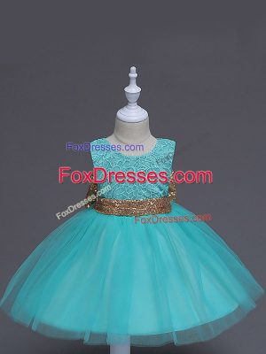 Aqua Blue Sleeveless Knee Length Lace and Bowknot Zipper Flower Girl Dresses for Less