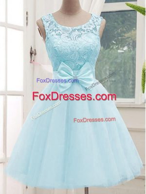 Aqua Blue A-line Tulle Scoop Sleeveless Lace Knee Length Lace Up Wedding Guest Dresses