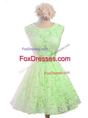 Knee Length Damas Dress Lace Sleeveless Belt