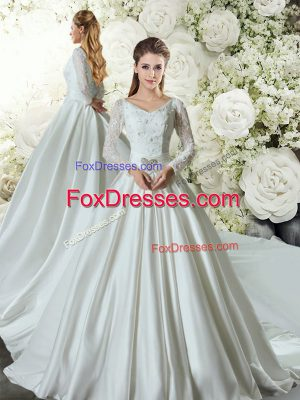 Top Selling Long Sleeves Taffeta Chapel Train Lace Up Wedding Gowns in White with Lace and Belt