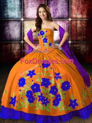 Orange Red Taffeta Lace Up 15 Quinceanera Dress Sleeveless Floor Length Embroidery