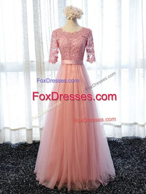 Excellent Floor Length Lace Up Dama Dress Pink for Prom and Party and Wedding Party with Lace